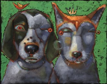 """""""Woody And Beck, The Famous Hounds Of Montucky"""" original fine art by Brenda York"""