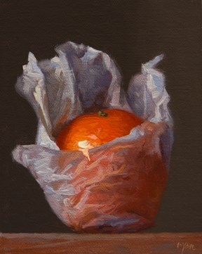 """Wrapped Tangerine  (+ 1889 McCloskey painting)"" original fine art by Abbey Ryan"