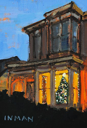 """Christmas Lights in Sherman Heights"" original fine art by Kevin Inman"