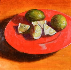 """Limes on a Red Plate"" original fine art by Robert Frankis"