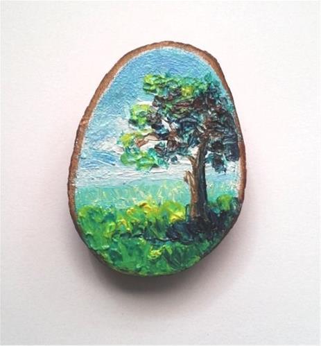 """Mini Oil Painting Tree Landscape "" original fine art by Camille Morgan"
