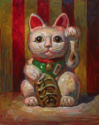 """Lucky Cat Bank"" original fine art by Raymond Logan"