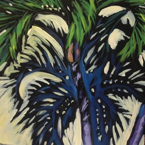 """Palm Shadow Dance"" original fine art by Kat Corrigan"