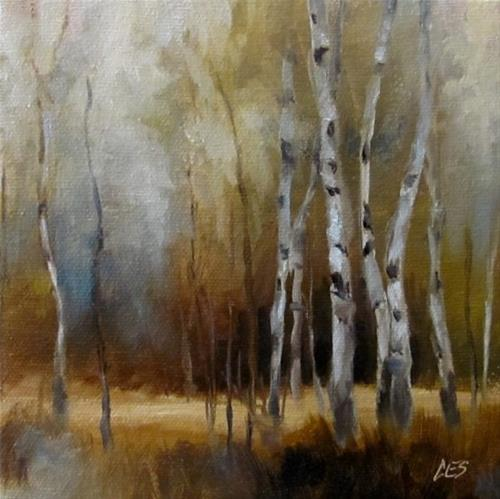 """Roadside Autumn Birch"" original fine art by ~ces~ Christine E. S. Code"
