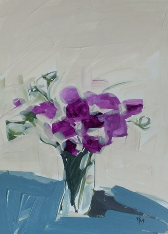 """sweet peas"" original fine art by Pamela Munger"