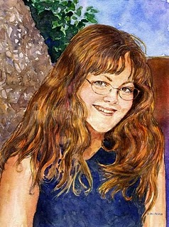 """Watercolor: Portrait of CB (& a painting by Christopher Greco)"" original fine art by Belinda Del Pesco"