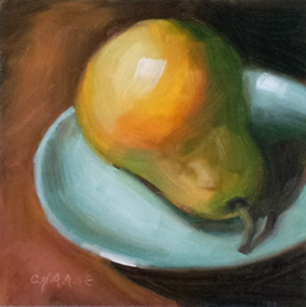 """Pear on Blue Plate"" original fine art by Cindy Haase"