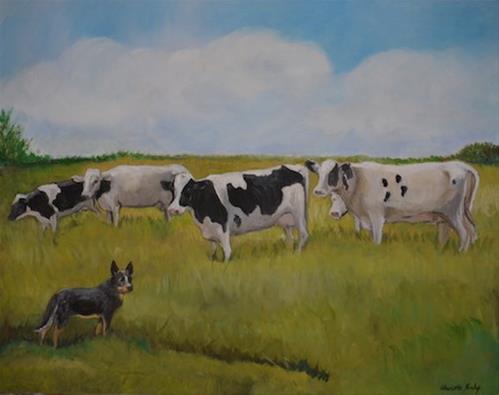 """Australian Cattle Dog Herding Cows"" original fine art by Charlotte Yealey"