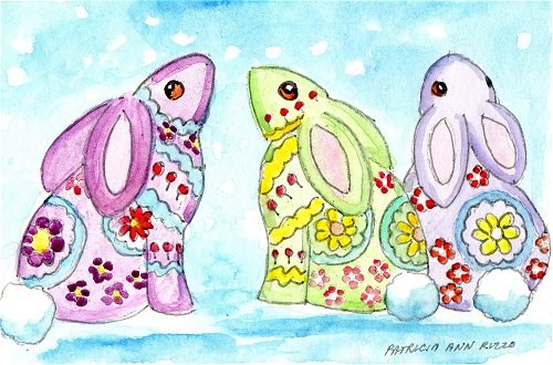 """Flower Bunnies"" original fine art by Patricia Ann Rizzo"
