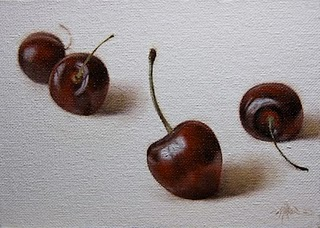 """Simple Cherries"" original fine art by Jonathan Aller"