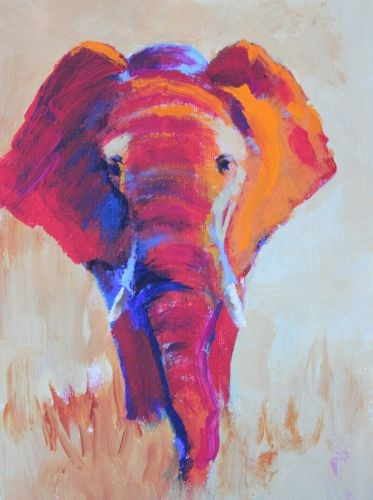 """Tanzania Elephant, Animal Paintings by Arizona Artist Amy Whitehouse"" original fine art by Amy Whitehouse"