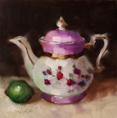 """Teapot and Lime"" original fine art by Cindy Haase"