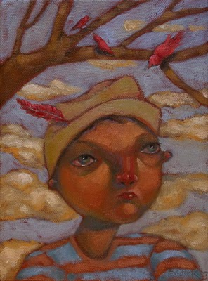 """Feather In His Cap"" original fine art by Brenda York"