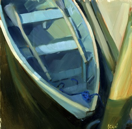 """Skiff from above- sold"" original fine art by Kathy Weber"