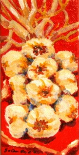 """MIni Garlic Braid, Orange/Red"" original fine art by JoAnne Perez Robinson"
