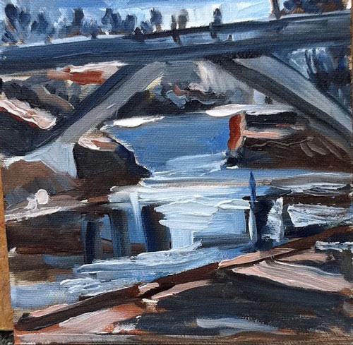 """""""Kinsmen Park Scene, 6x6, oil on panel"""" original fine art by Darlene Young"""