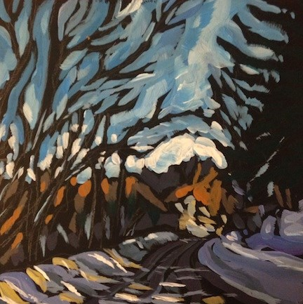 """Cedar Lake Parkway, January"" original fine art by Kat Corrigan"