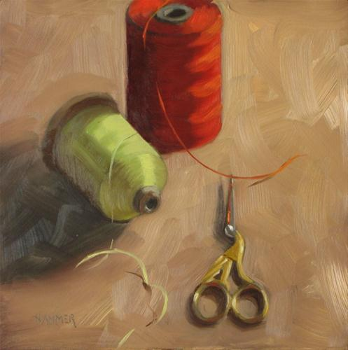 """A common thread 6x6 oil on panel"" original fine art by Claudia Hammer"