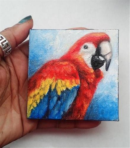"""Macaw Pet Bird Portrait"" original fine art by Camille Morgan"