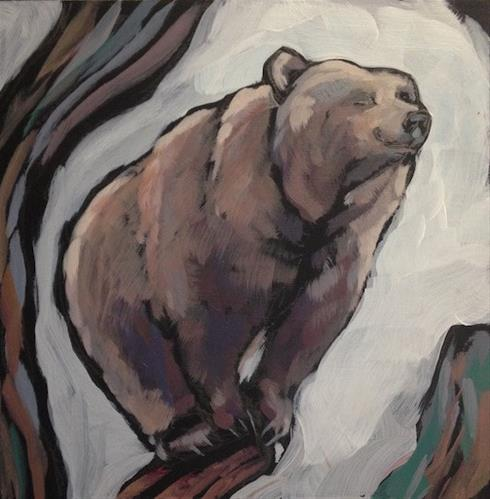 """Balanced Bear"" original fine art by Kat Corrigan"