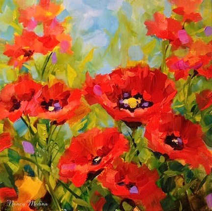 """A New Poppy Video! Surrounded - Red Poppy Painting by Texas Flower Artist Nancy Medina"" original fine art by Nancy Medina"