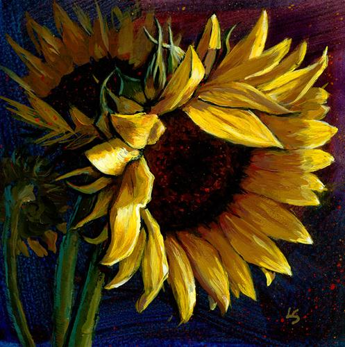 """Sunflower Memories"" original fine art by Lesley Spanos"