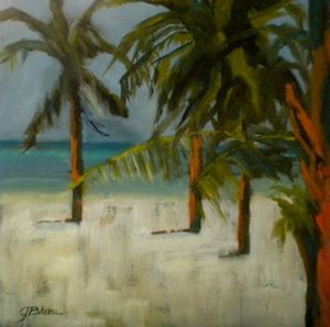 """Follow The Palms"" original fine art by Janet Bludau"