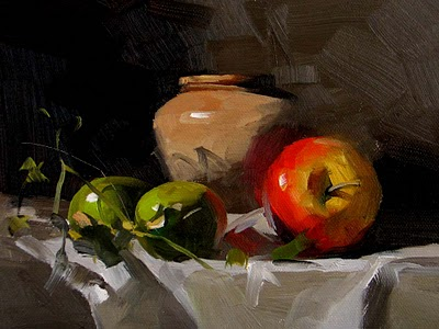"""""""Watermelon and Apple --- Sold"""" original fine art by Qiang Huang"""