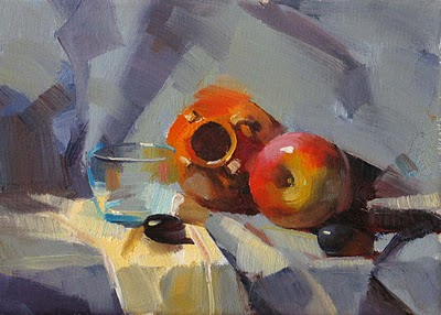 """Orange Pot --- Sold"" original fine art by Qiang Huang"