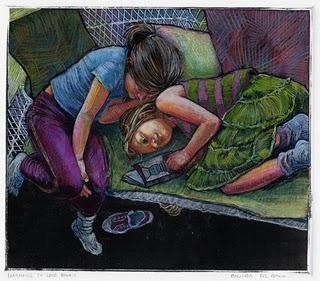"""Monotype: Learning to Love Books"" original fine art by Belinda Del Pesco"