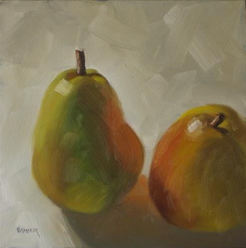 """Pair of pears 6x6 oil"" original fine art by Claudia Hammer"