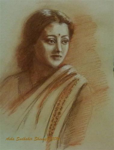 """Indian Woman"" original fine art by Asha Shenoy S"