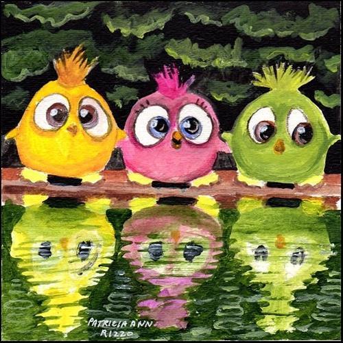 """Three Stuffed Birds"" original fine art by Patricia Ann Rizzo"