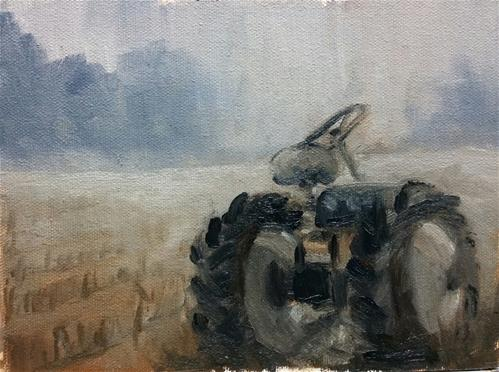 """Parts tractor in the fog-study"" original fine art by Veronica Brown"