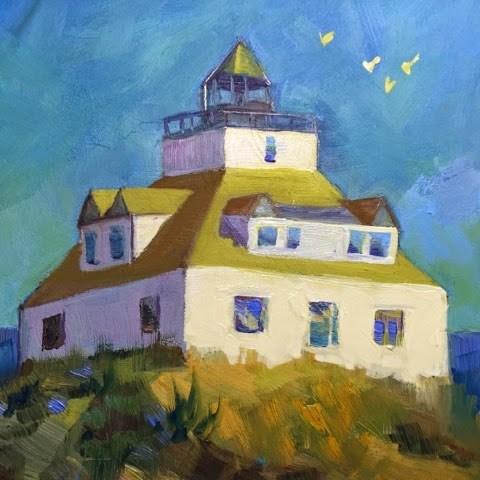"""Egg Rock light house in oils"" original fine art by Lisa Fazio"