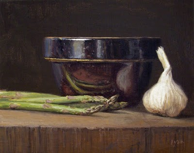 """Still Life with Asparagus, Garlic, and Bowl"" original fine art by Abbey Ryan"