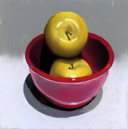 """yellow apples in a red bowl painting"" original fine art by Ria Hills"