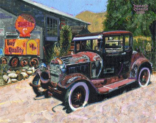 """Old Ford, Jerome, AZ"" original fine art by Donald Curran"