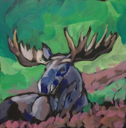 """Moose Afield"" original fine art by Kat Corrigan"