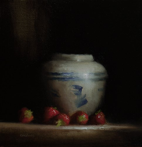 """Vase with Strawberries"" original fine art by Neil Carroll"