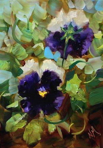"""Back to Front Purple Pansies by Texas Flower Artist Nancy Medina"" original fine art by Nancy Medina"