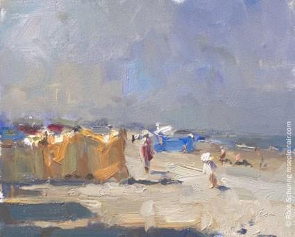 """Seascape Summer 9 ""Morning light – summer beach"" (available)"" original fine art by Roos Schuring"
