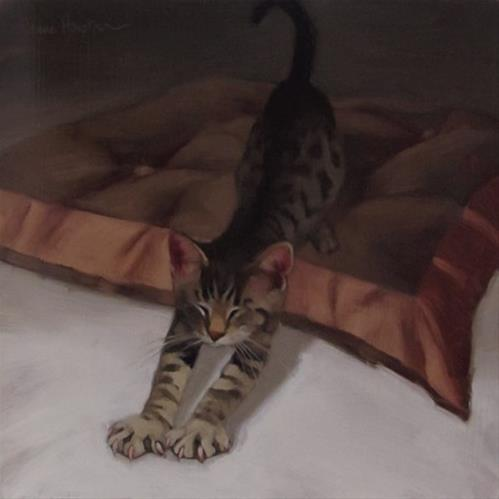 """Tabby Stretches"" original fine art by Diane Hoeptner"