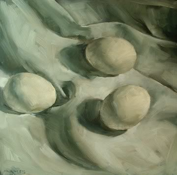 """Eggs on White"" original fine art by Michael Naples"