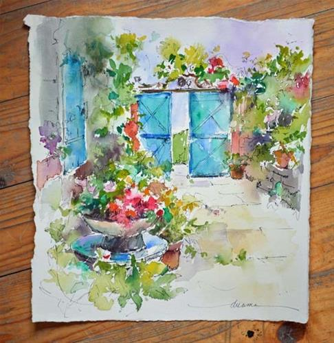 """A Taste of Watercolor in France"" original fine art by Dreama Tolle Perry"