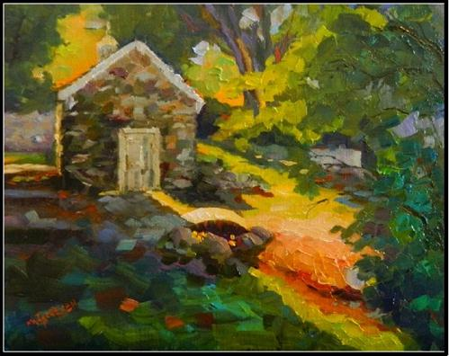 Springhouse in Shadow, 11x14, oil on linen-, Vixen Hill Farm, paintings of springhouse, Maryanne J original fine art by Maryanne Jacobsen