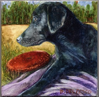 """Watercolor: Frisbee Dog"" original fine art by Belinda Del Pesco"