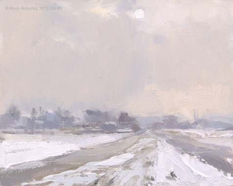 """Landscape winter 3 White sun and snow (Sneeuw) (available)"" original fine art by Roos Schuring"