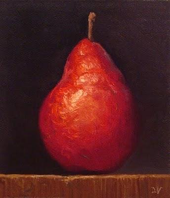 """Red Pear"" original fine art by Abbey Ryan"