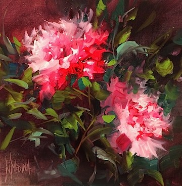 """Ruby Tango Peonies"" original fine art by Nancy Medina"